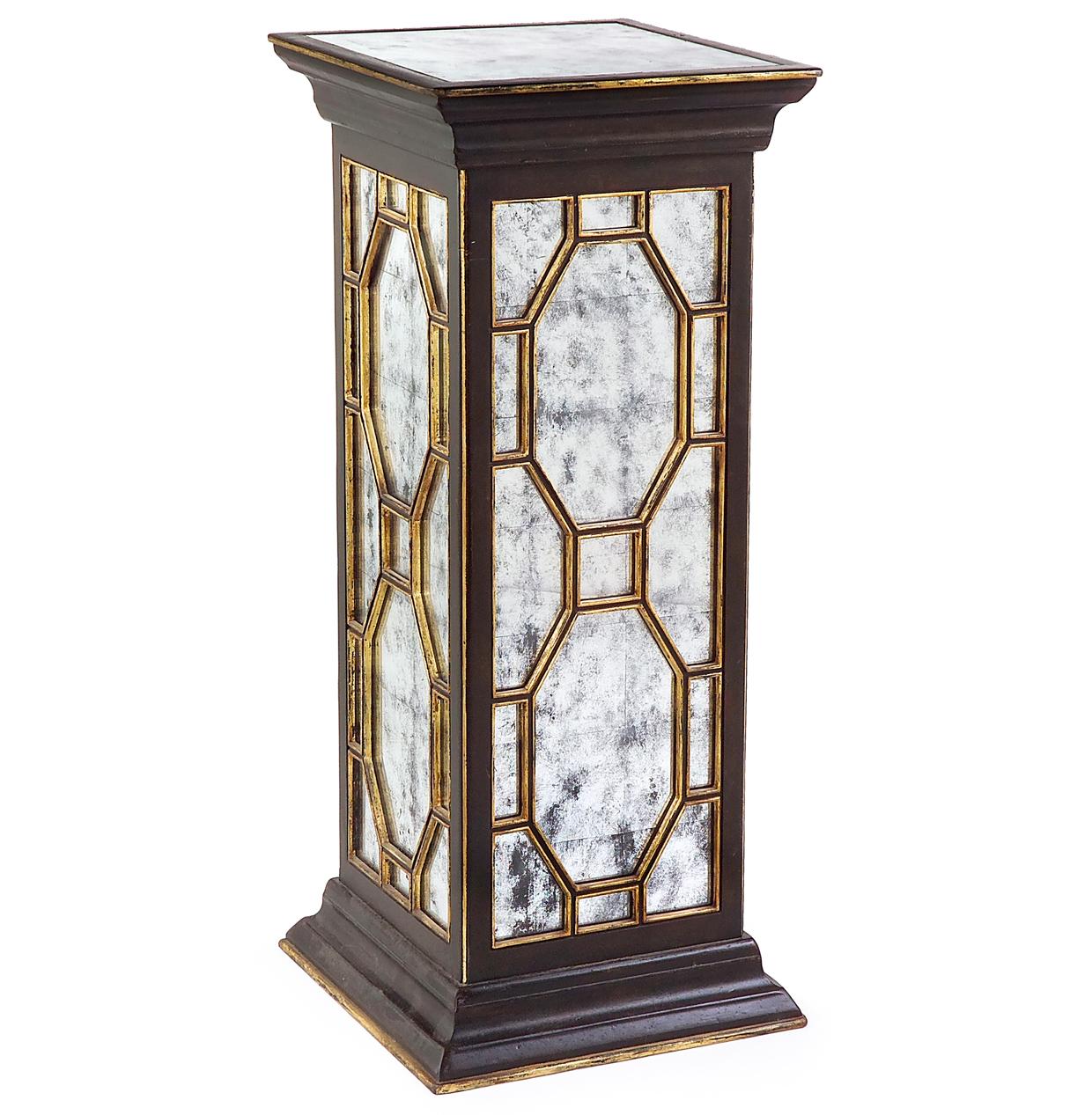 Cadence Traditional Hollywood Black Silver Leaf Mirror Pedestal Table - 36 Inch