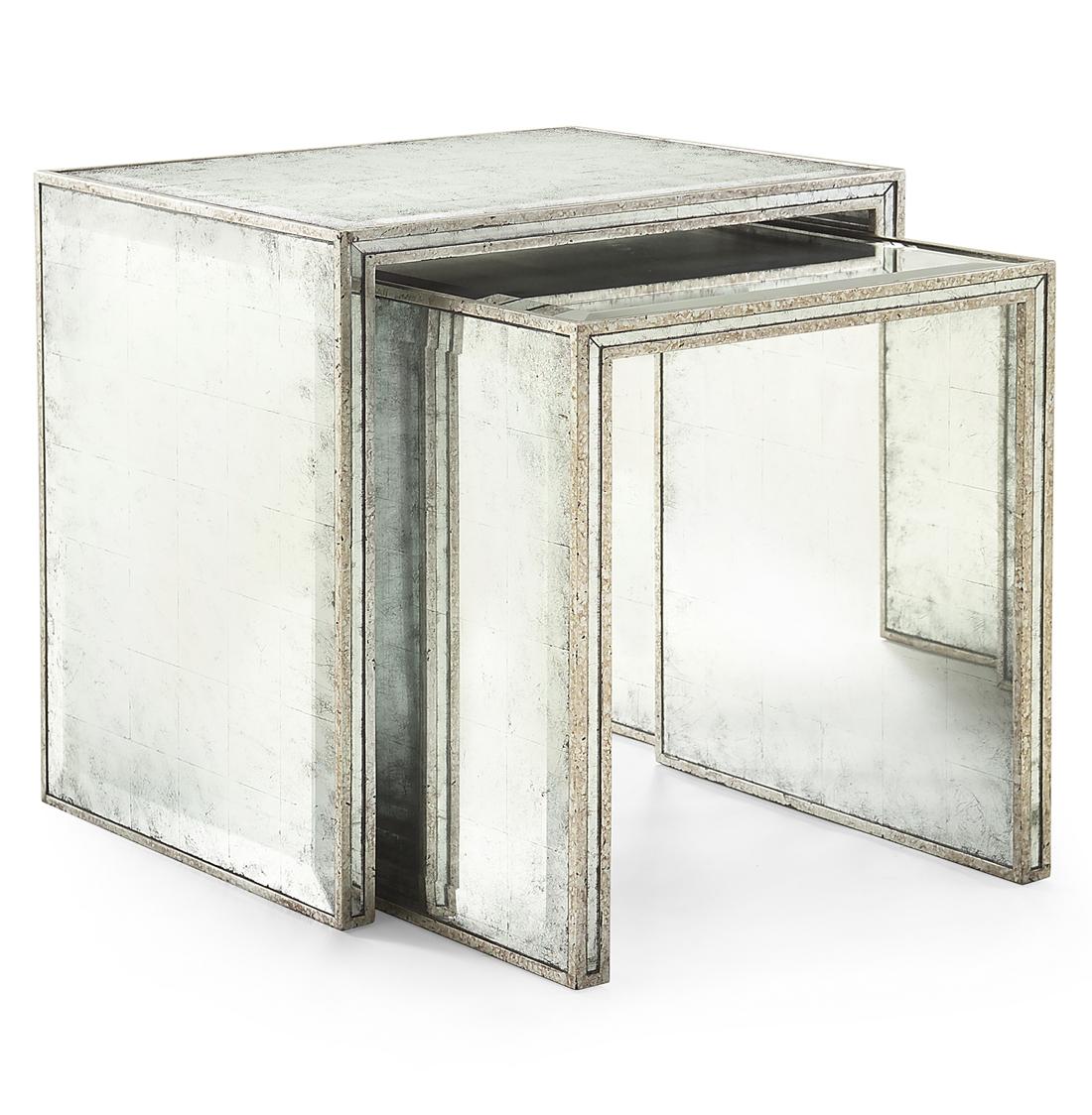 Jasmine Hollywood Regency Silver Leaf Mirror Nesting Side End Table - Set of 2