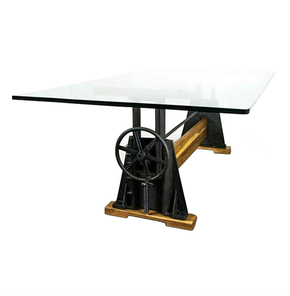 Dogtown Industrial Loft Cast Iron Glass Dining Table