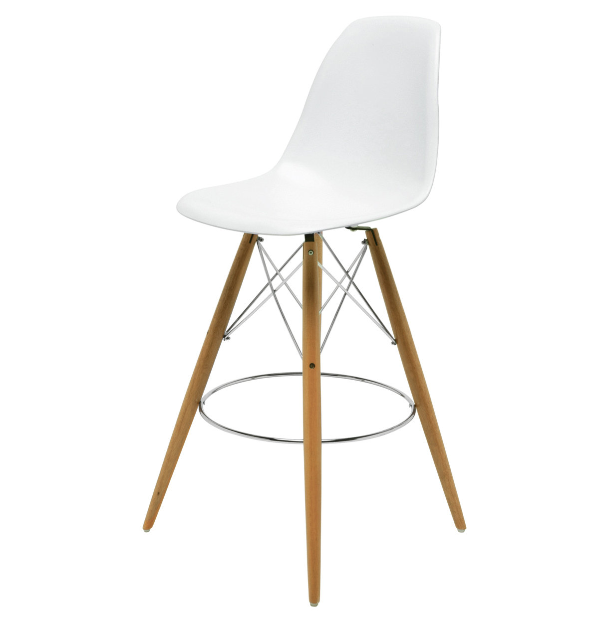Eiffel Reproduction White Plastic Oak Wood Modern Barstool - Pair