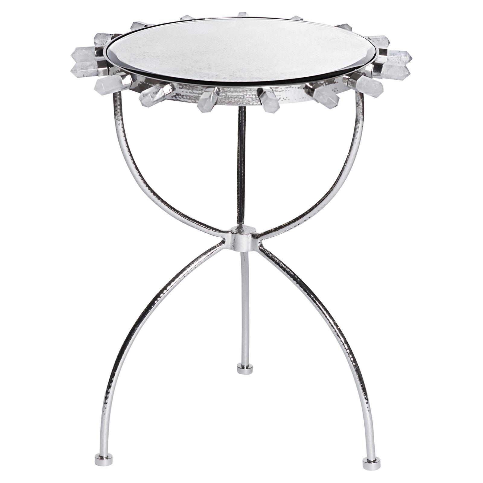Gretchen Hollywood Regency Quartz Antique Mirror Silver Round Side Table