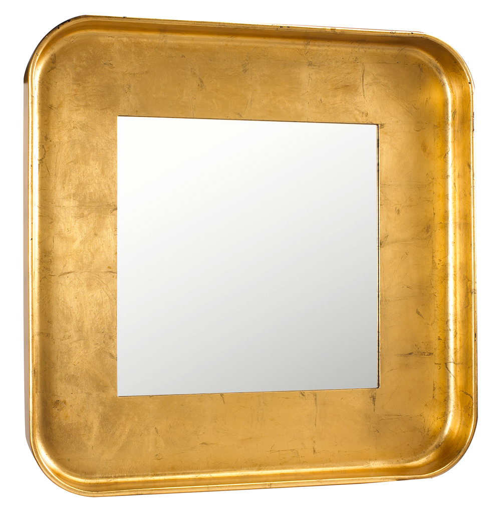 Marant French Modern Gold Leaf Round Square Mirror