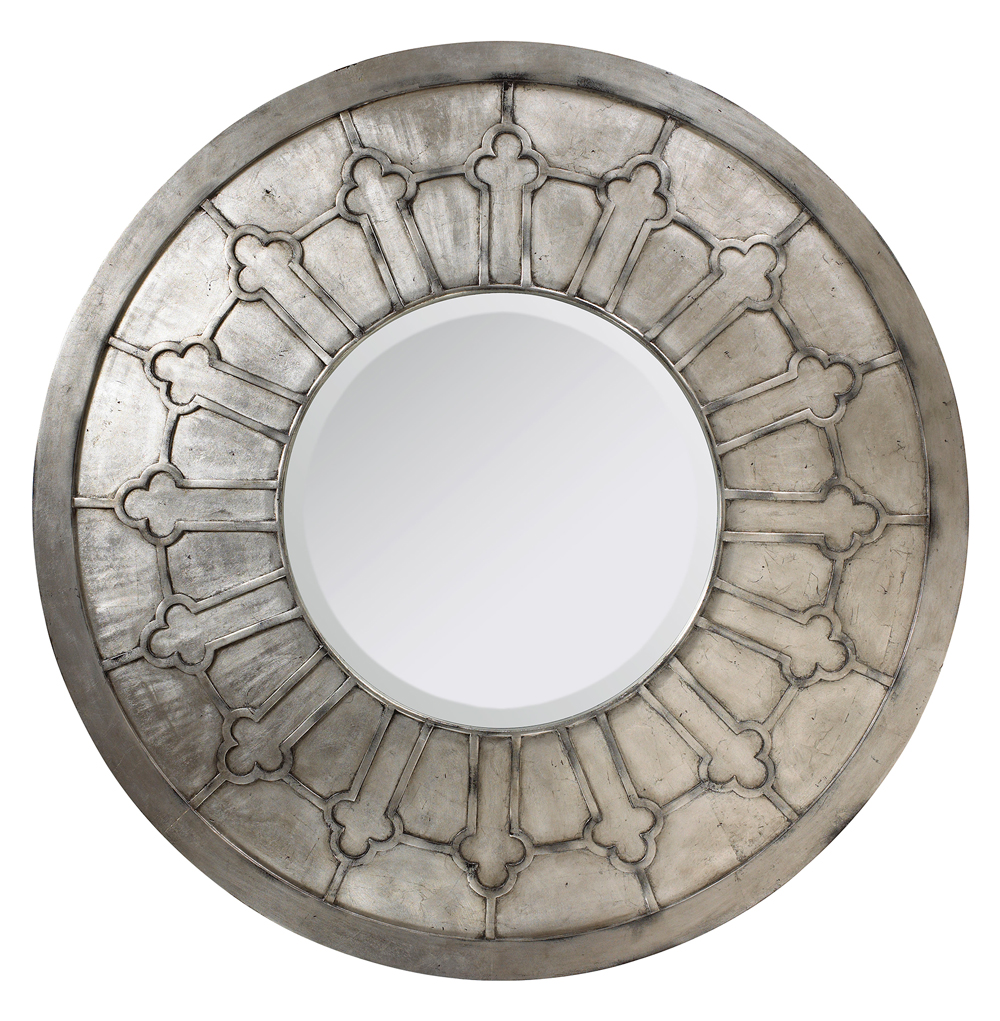 Alexandria French Country Antique Silver Round Wall Mirror