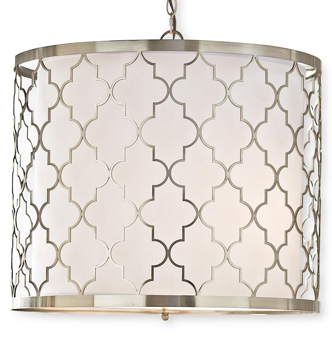 Fontaine Hollywood Regency Silver Nickel Pattern Pendant Light