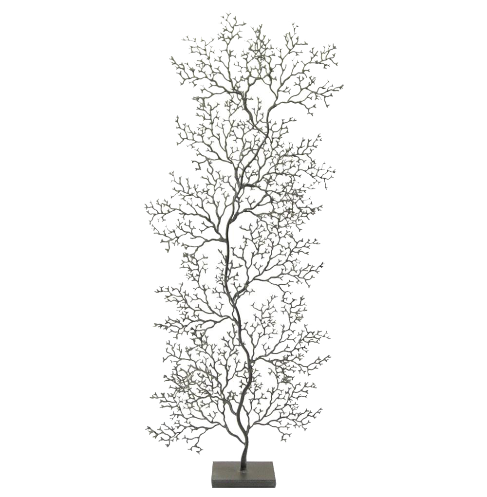 Cozumel Charcoal Grey Fan Coral Sculpture - Tall