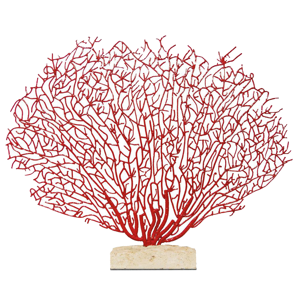 Scarlet Grand Fan Coral Sculpture with Limestone Base