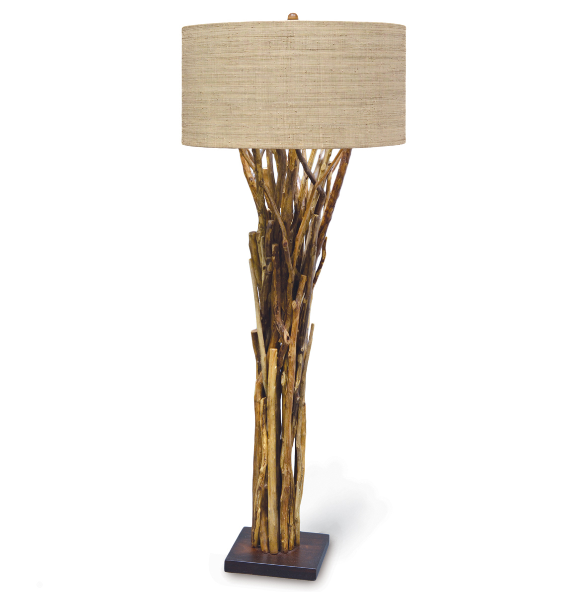 Umber Rustic Lodge Bundled Branches Floor Lamp - 30 Inch Shade