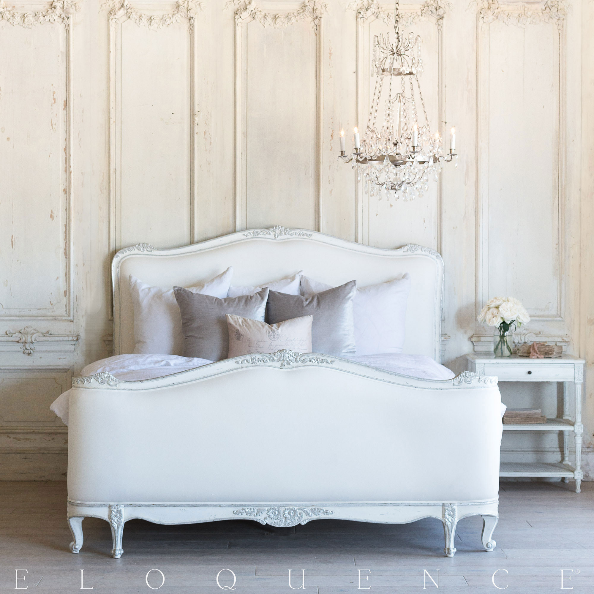 High Quality Eloquence Sophia Queen Bed In Silver Antique White Two