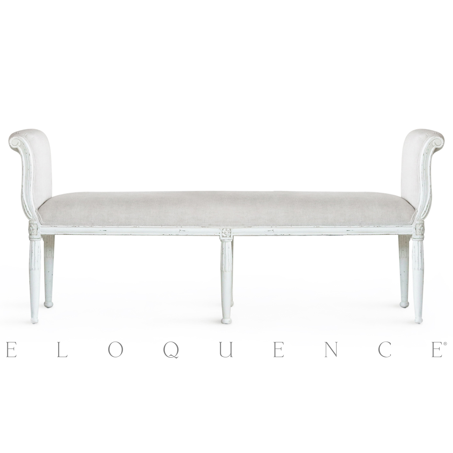 Eloquence® Grande Mademoiselle Bench in Antique White
