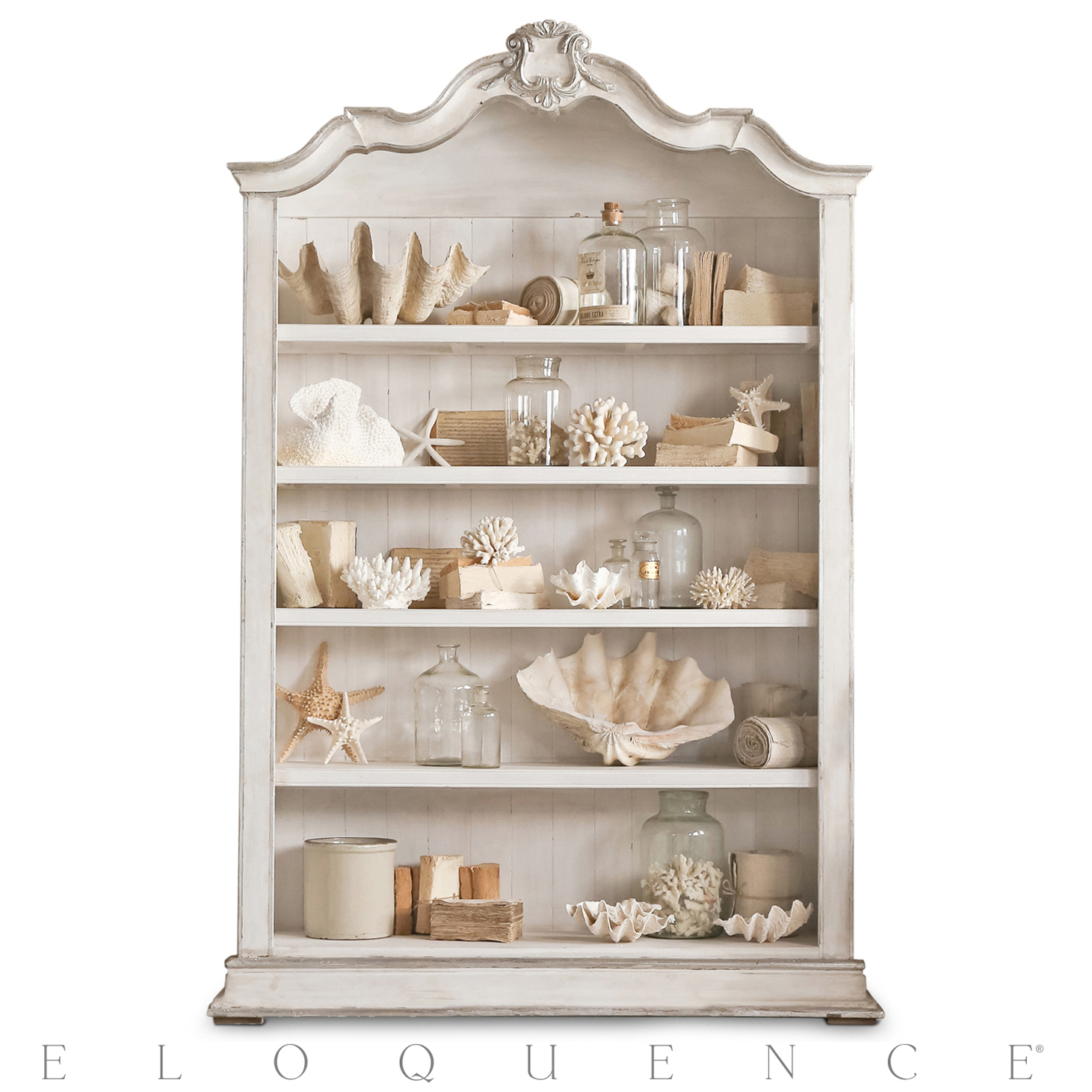 Eloquence® Rousseau Bookcase in Silver and Pale White