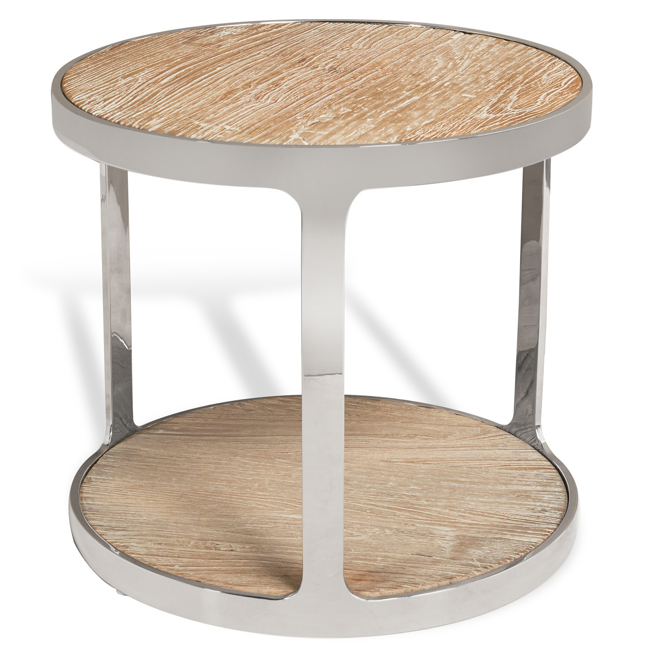Zanuso Industrial Reclaimed Elm Stainless Steel Round Side Table