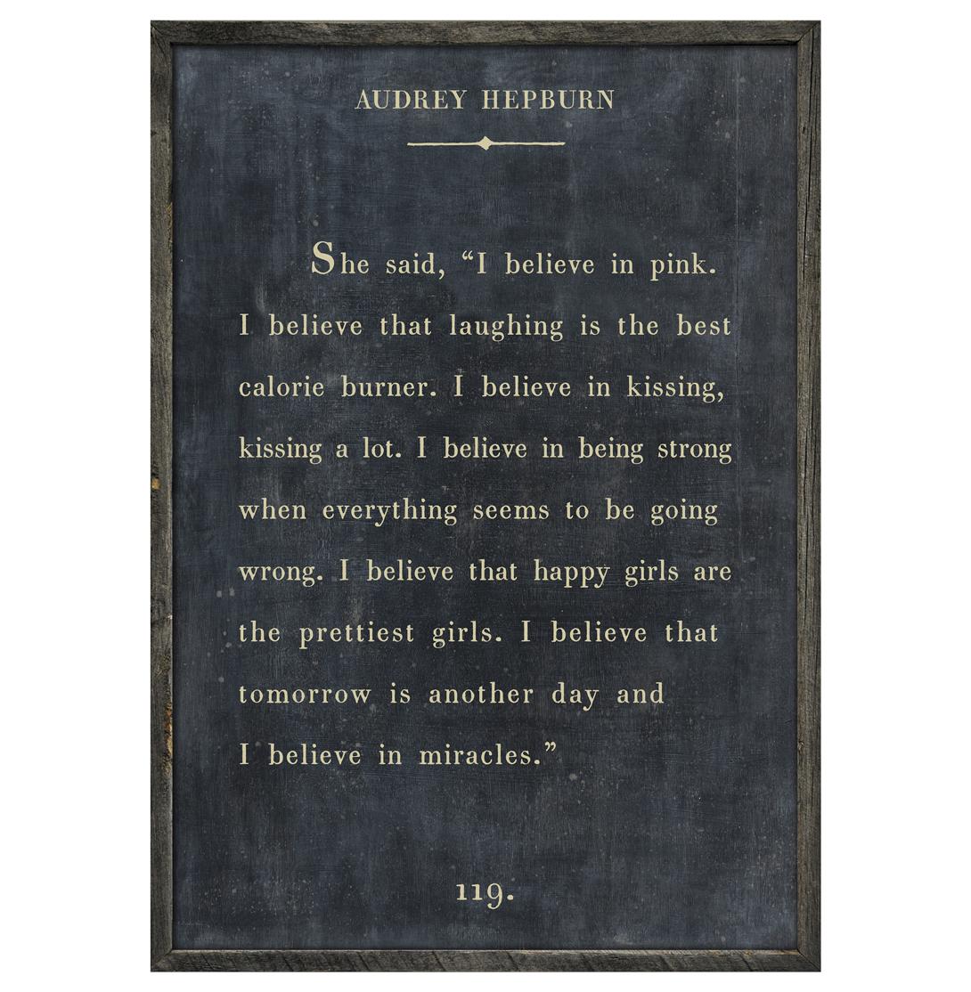Audrey Hepburn Quote - I Believe In Pink Wood Art Print - Charcoal - 48x36