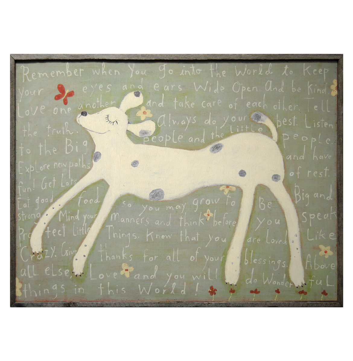 Remember When You Go - Reclaimed Wood Brown Girl Dog Wall Art - 36 Inch