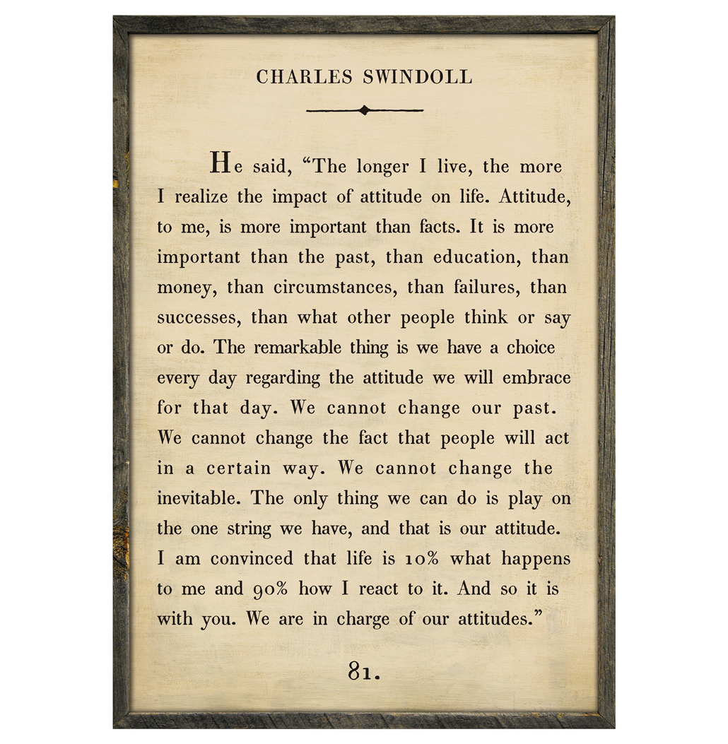 Charles Swindoll Quote - We Are In Charge Wood Art Print - Cream - 36x24