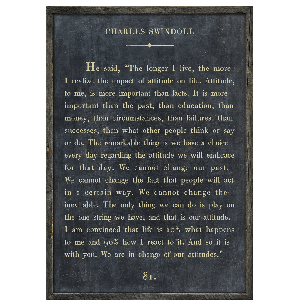 Charles Swindoll Quote - We Are In Charge Wood Art Print - Charcoal - 36x24
