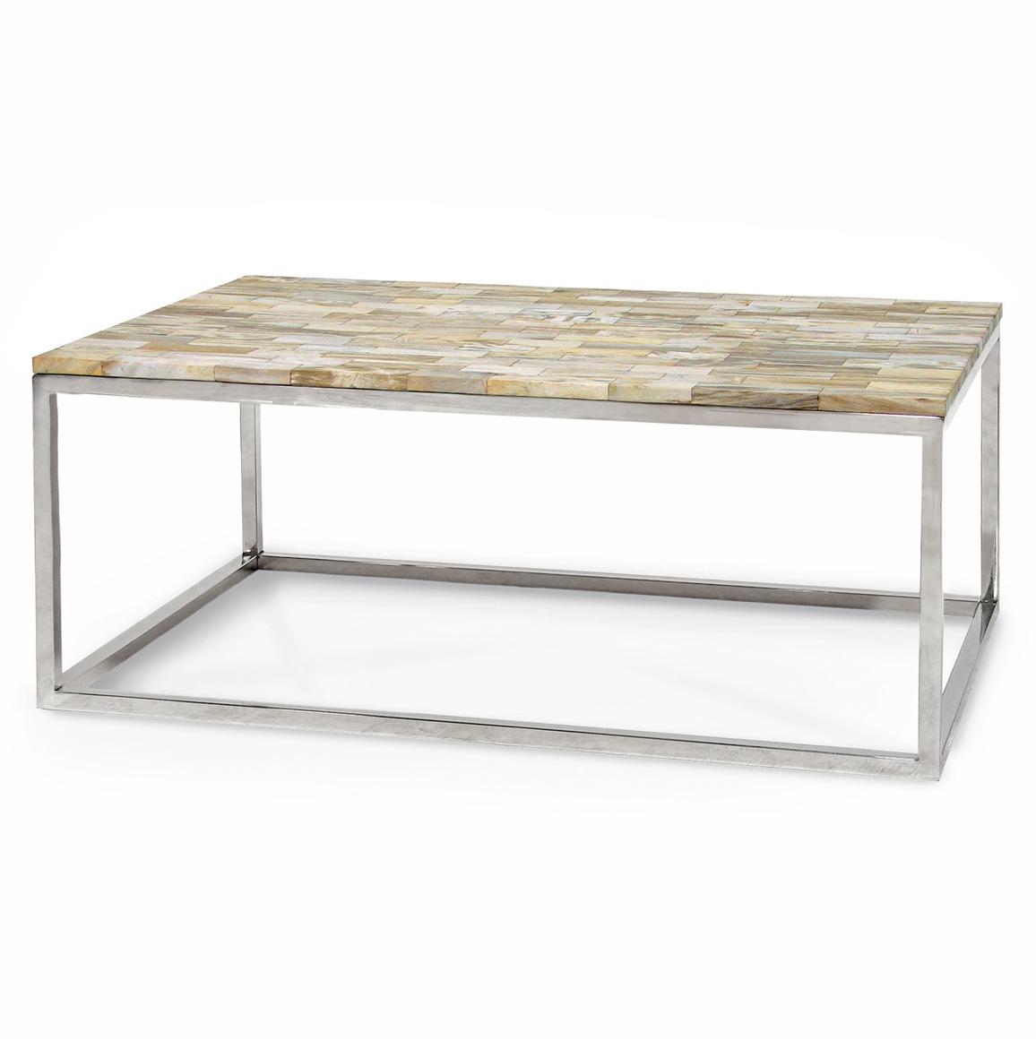 Lakota Industrial Loft Petrified Wood Cream Rectangular Coffee Table - 45.5 Inch