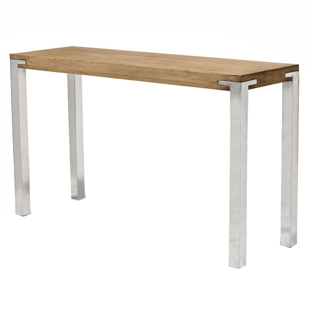 Bingham Industrial Loft Plantation Hardwood Steel Console Table