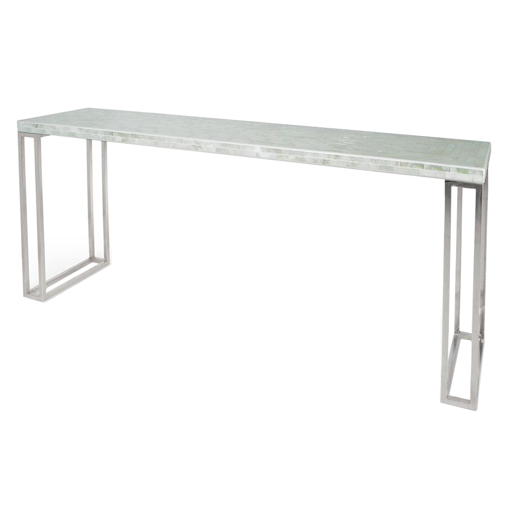 Evangeline Hollywood Regency White Glass Mosaic Console Table