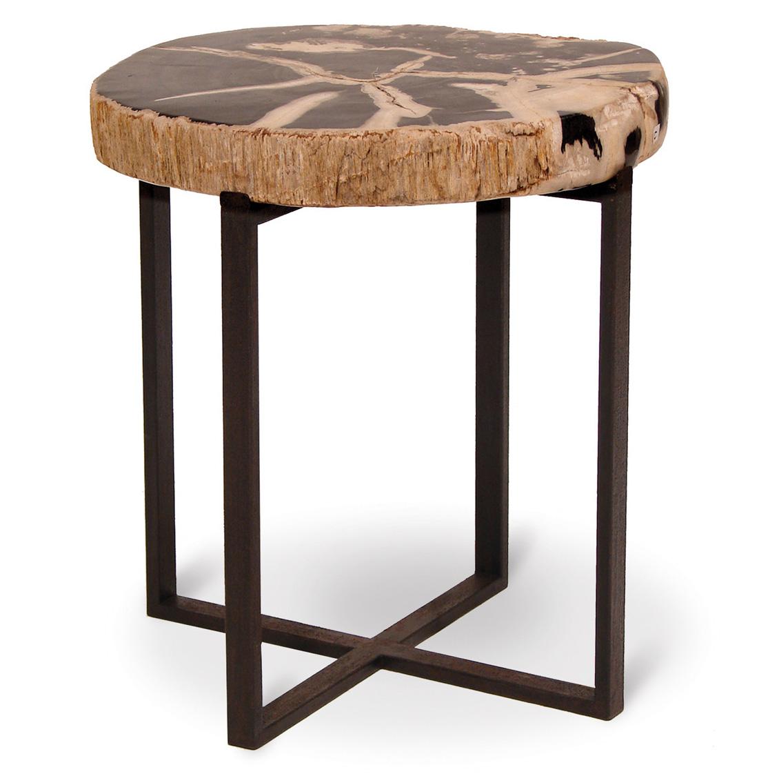 Noir Petrified Wood Industrial Loft Round Side Table - 18.5 Inch