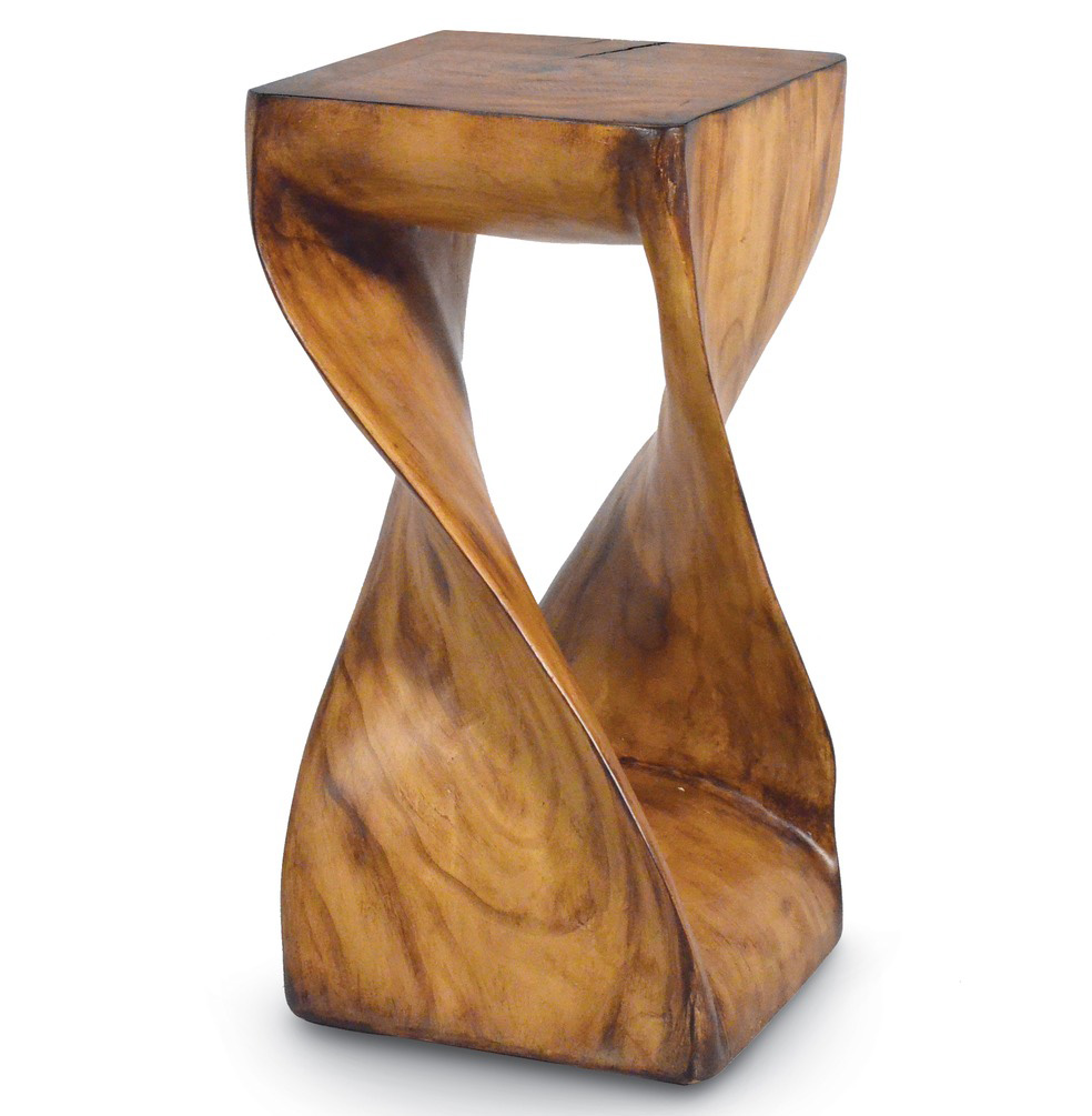 Helix Rustic Industrial Modern Faux Twisted Wood Stool Side Table