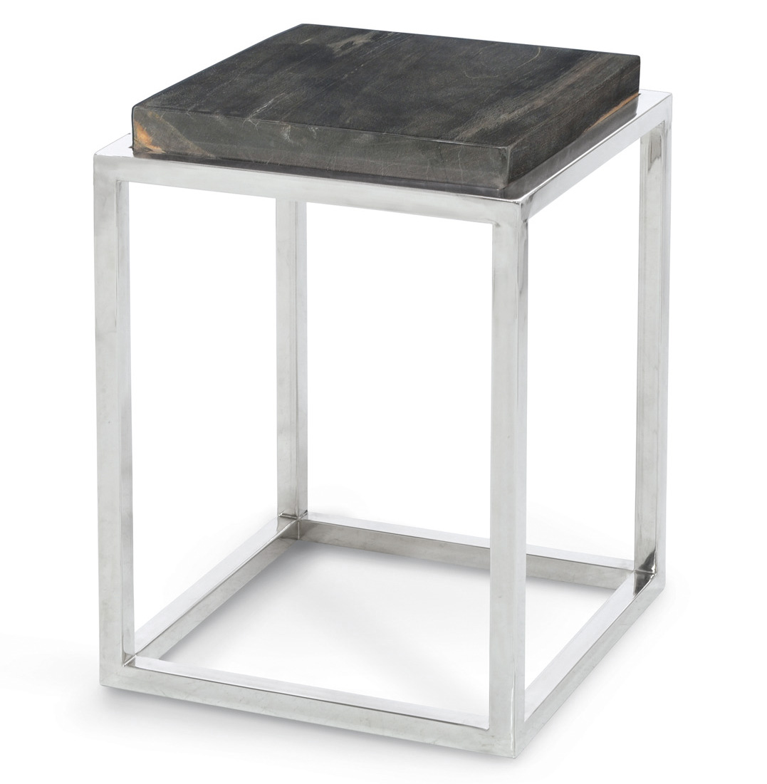 Stagedoor Industrial Loft Petrified Wood Small Square Side Table