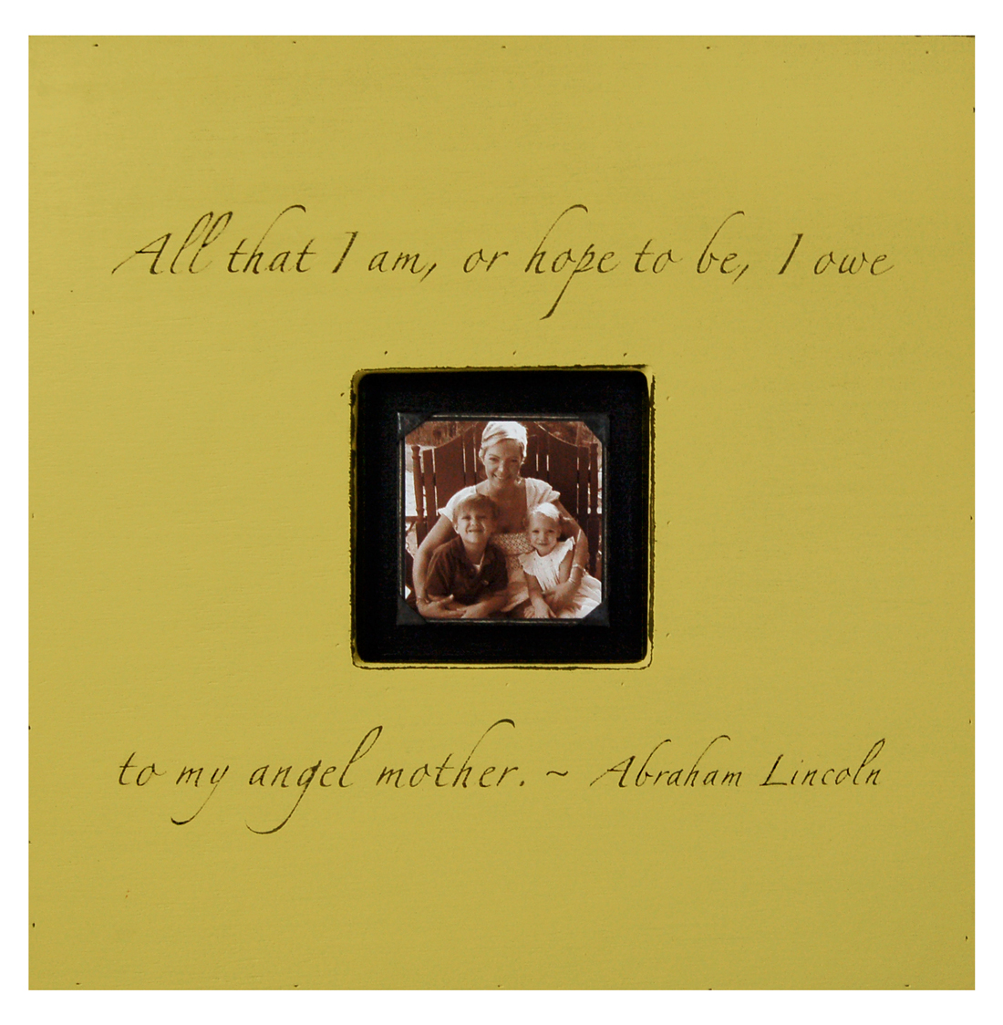 Painted Wood Rustic Photo Box - All That I Am - Camel