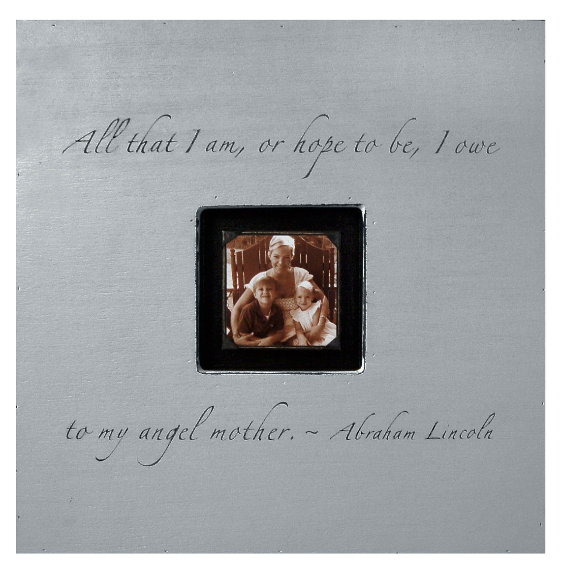 Painted Wood Rustic Photo Box - All That I Am - French Grey
