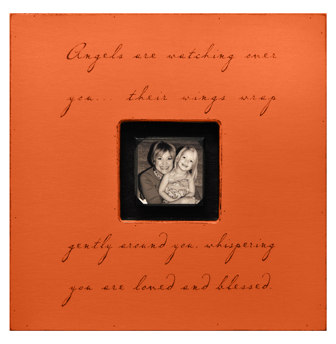 Painted Wood Rustic Photo Box - Angels Are Watching Over You - Red