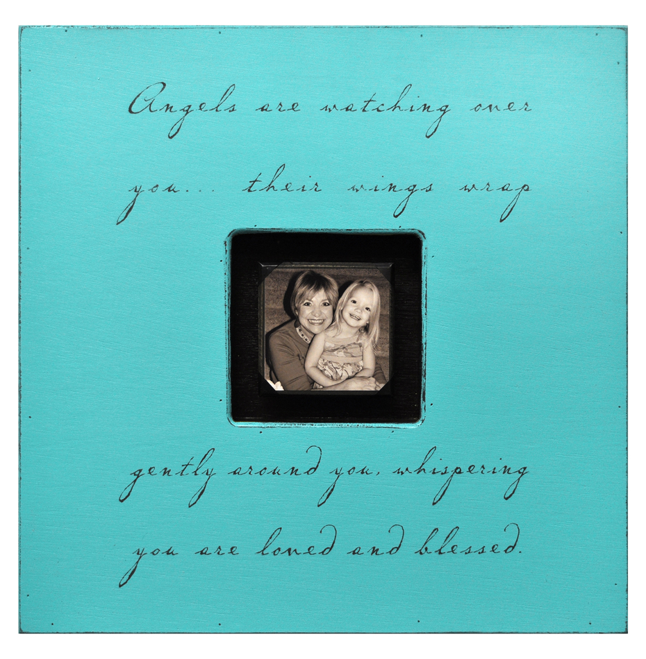 Painted Wood Rustic Photo Box - Angels Are Watching Over You - Turquoise