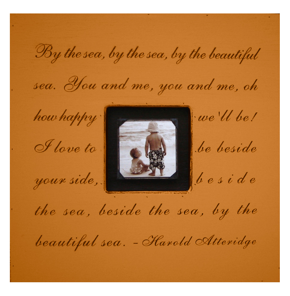 Painted Wood Rustic Photo Box - By The Sea - Terra Cotta