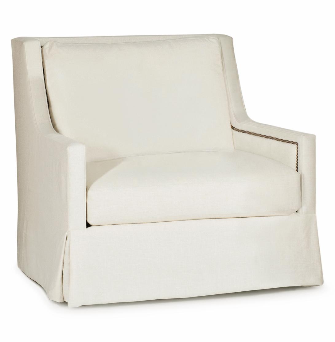 Helena Hollywood Regency Classic Ivory Linen Swivel Arm Chair