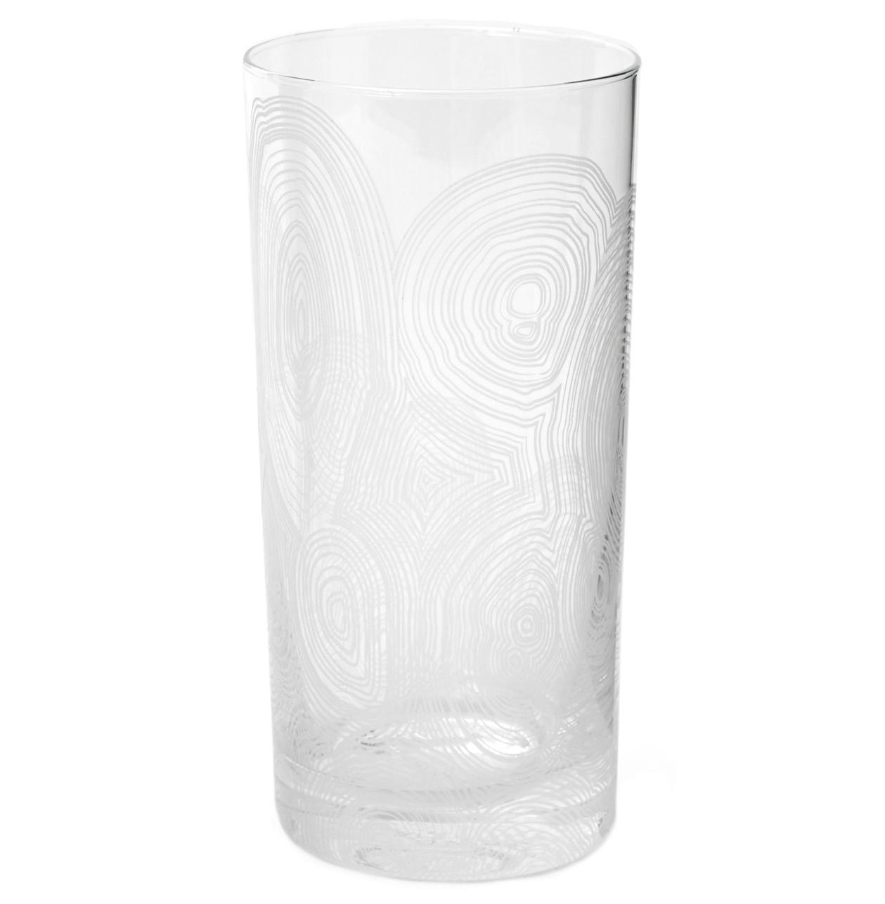 Tree Rings Hollywood Regency White Tall Highball Glasses - Set of 6