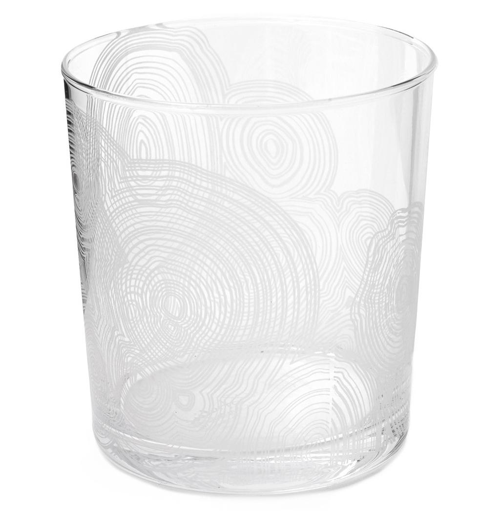 Tree Rings Hollywood Regency White Short Rocks Glasses - Set of 6