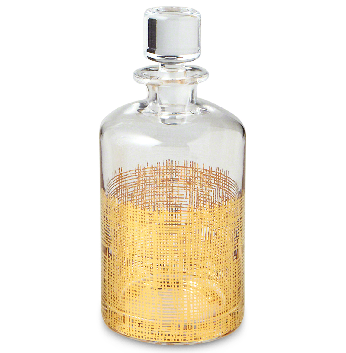 Icicle Hollywood Regency Gold Crosshatch Cylinder Decanter