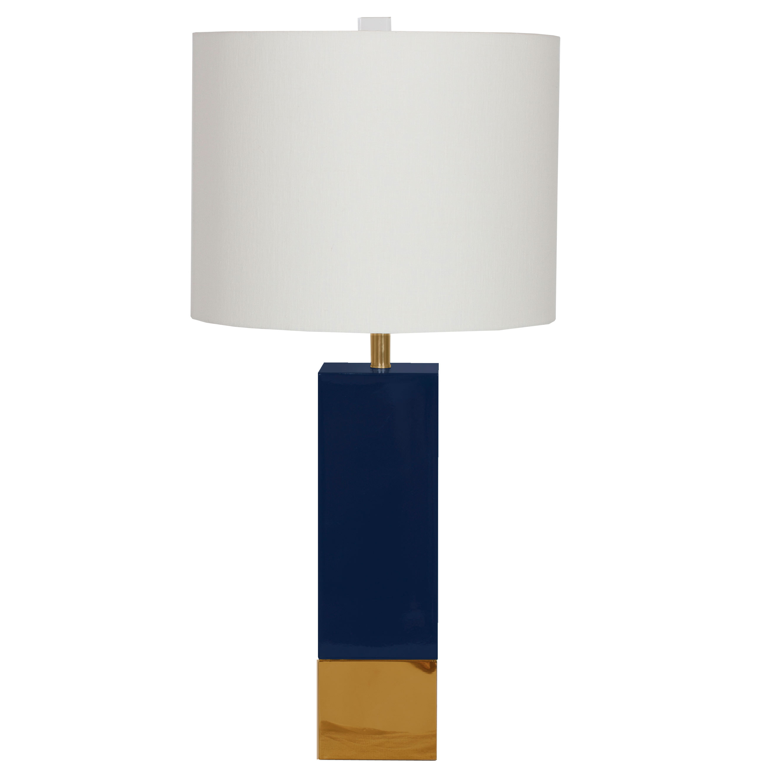 Titan Hollywood Regency Gold Navy Blue Square Table Lamp