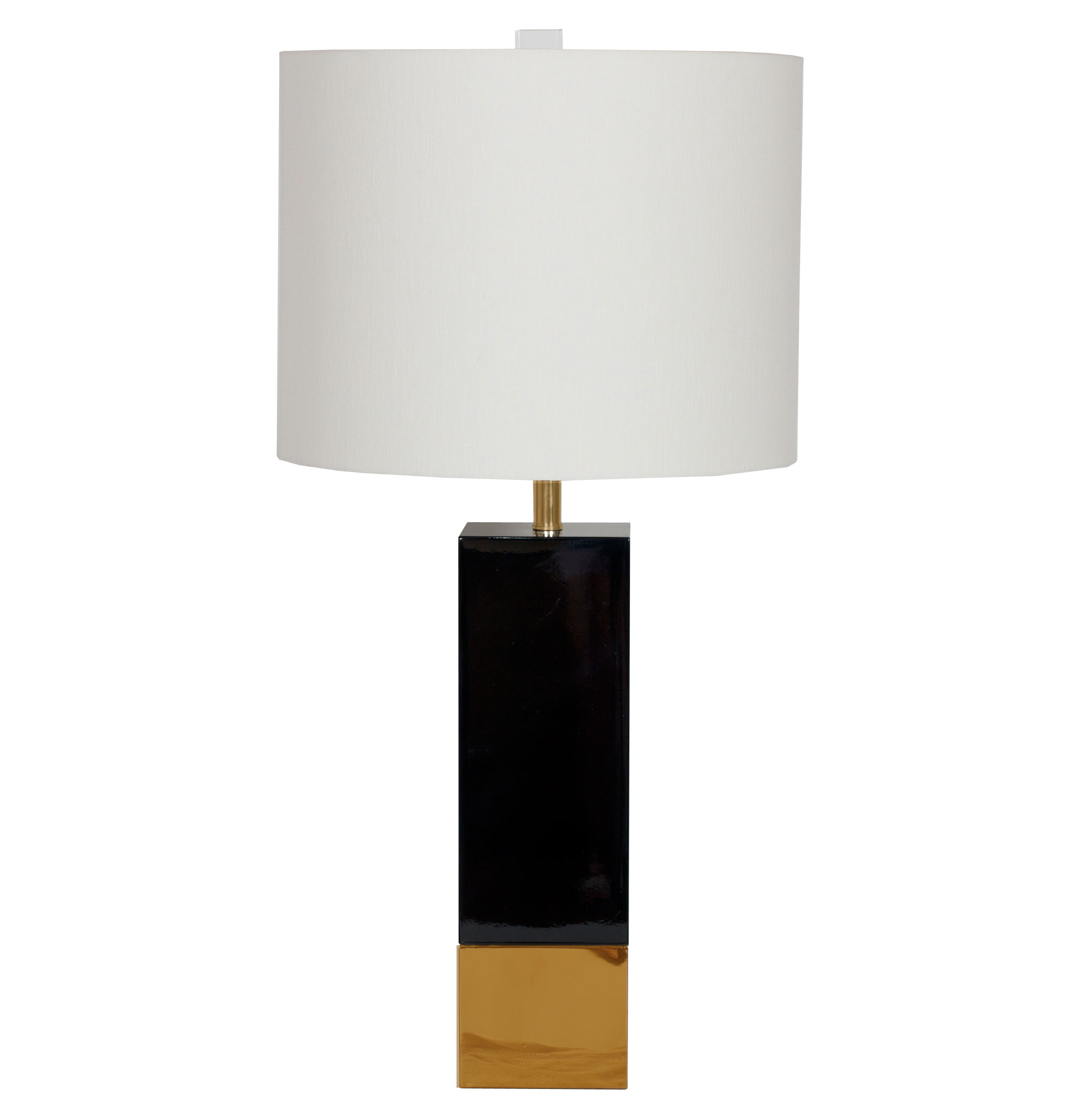 Titan Hollywood Regency Gold Black Square Table Lamp