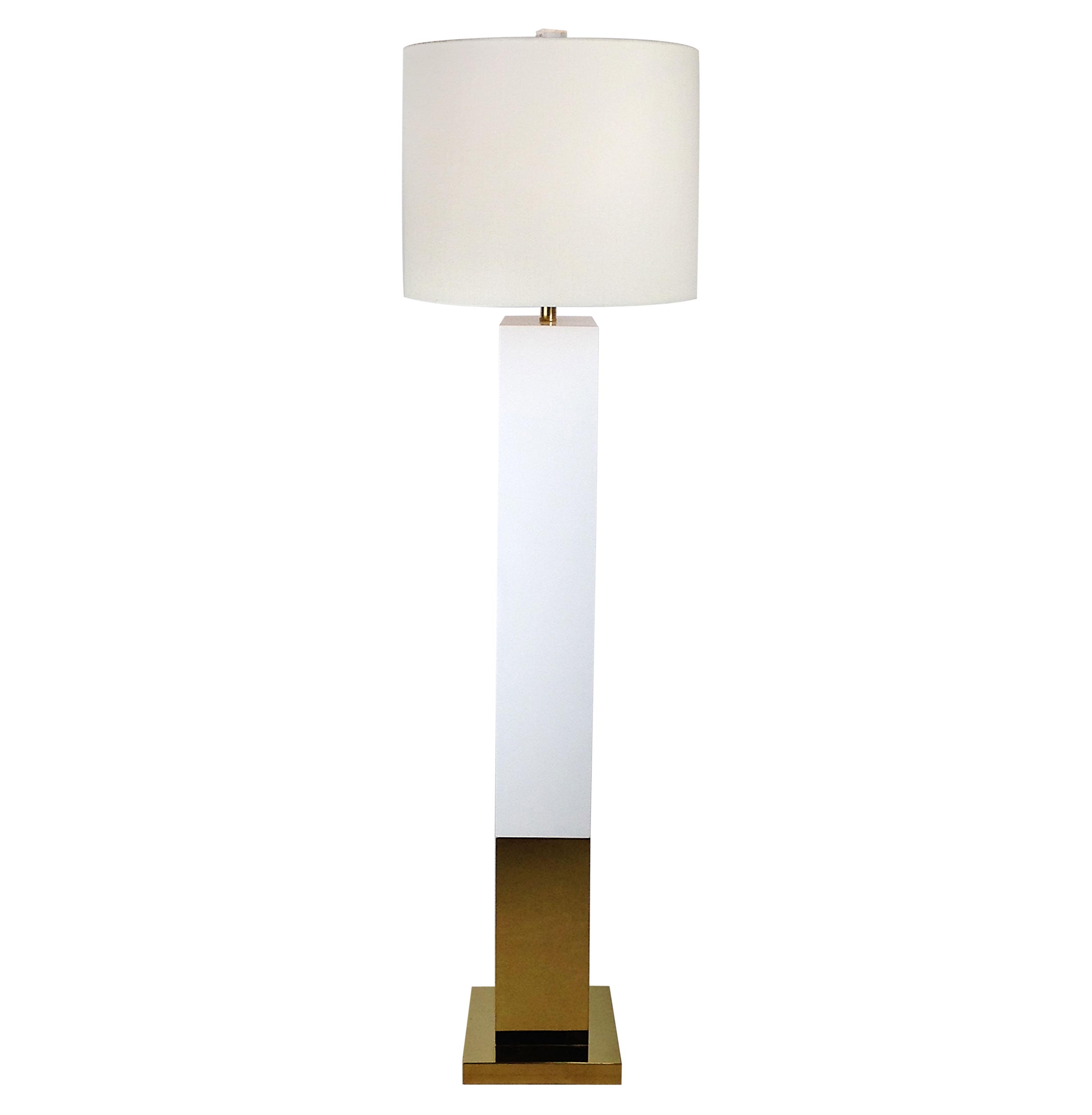 Titan Hollywood Regency Square Gold White Floor Lamp