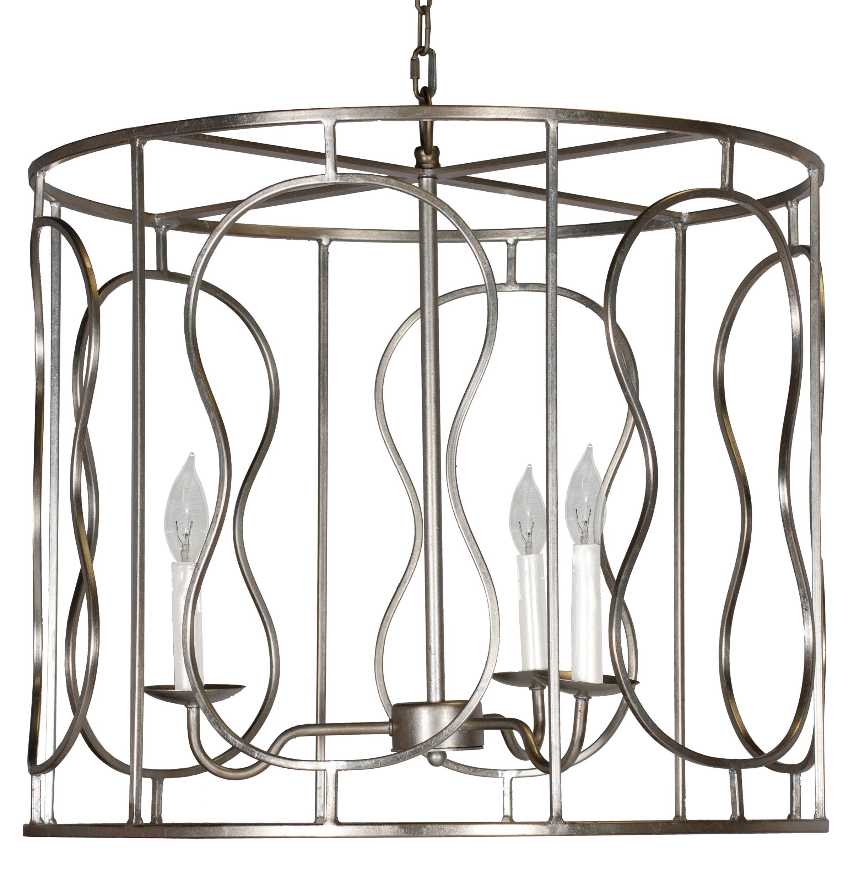 Loren Hollywood Regency Silver 3 Light Pendant Chandelier