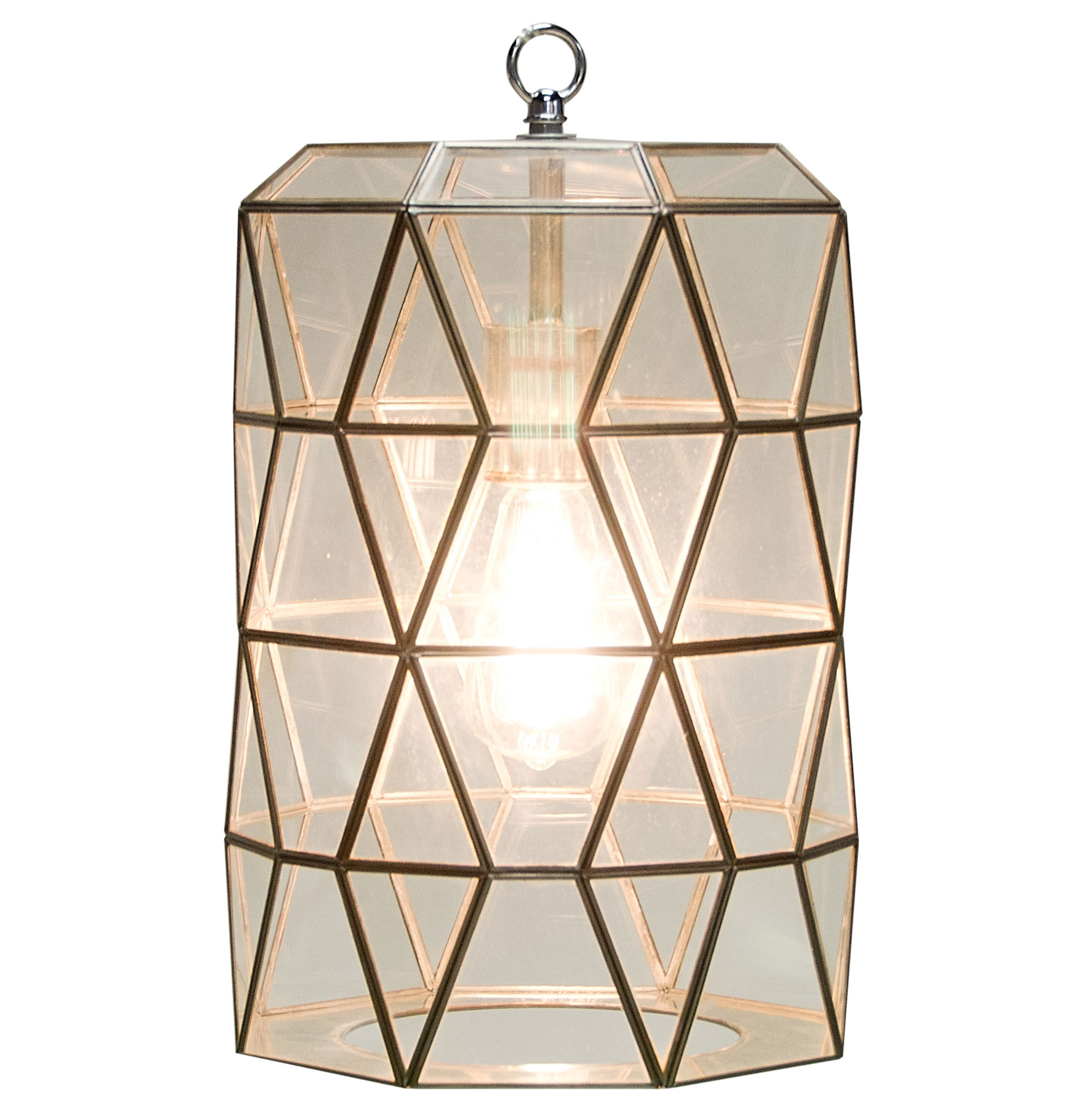 Origami Global Bazaar Clear Glass Cylinder Pendant Lantern