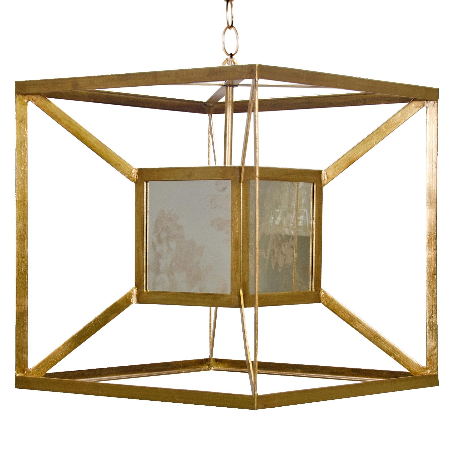 Borg Global Bazaar Antique Mirror Gold  Hanging Cube Pendant
