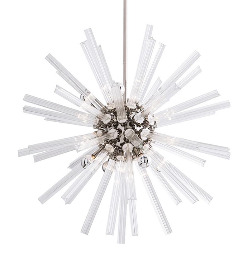 Adrianne Hollywood Regency Glass Nickel Sunburst Pendant - 30 Inches