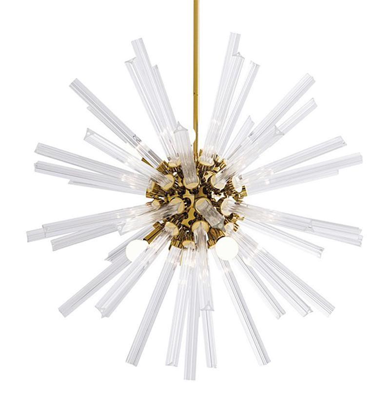 Adrianne Hollywood Regency Glass Brass Sunburst Pendant - 30 Inches