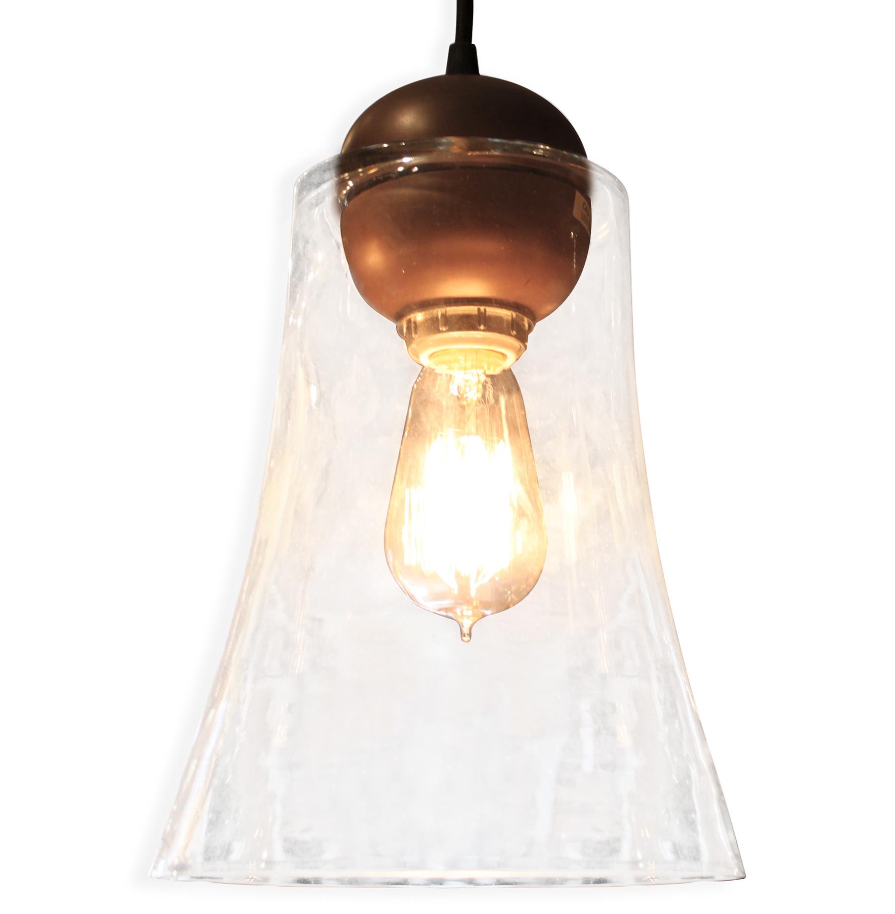Messina Industrial Loft Bronze Glass Pendant Light