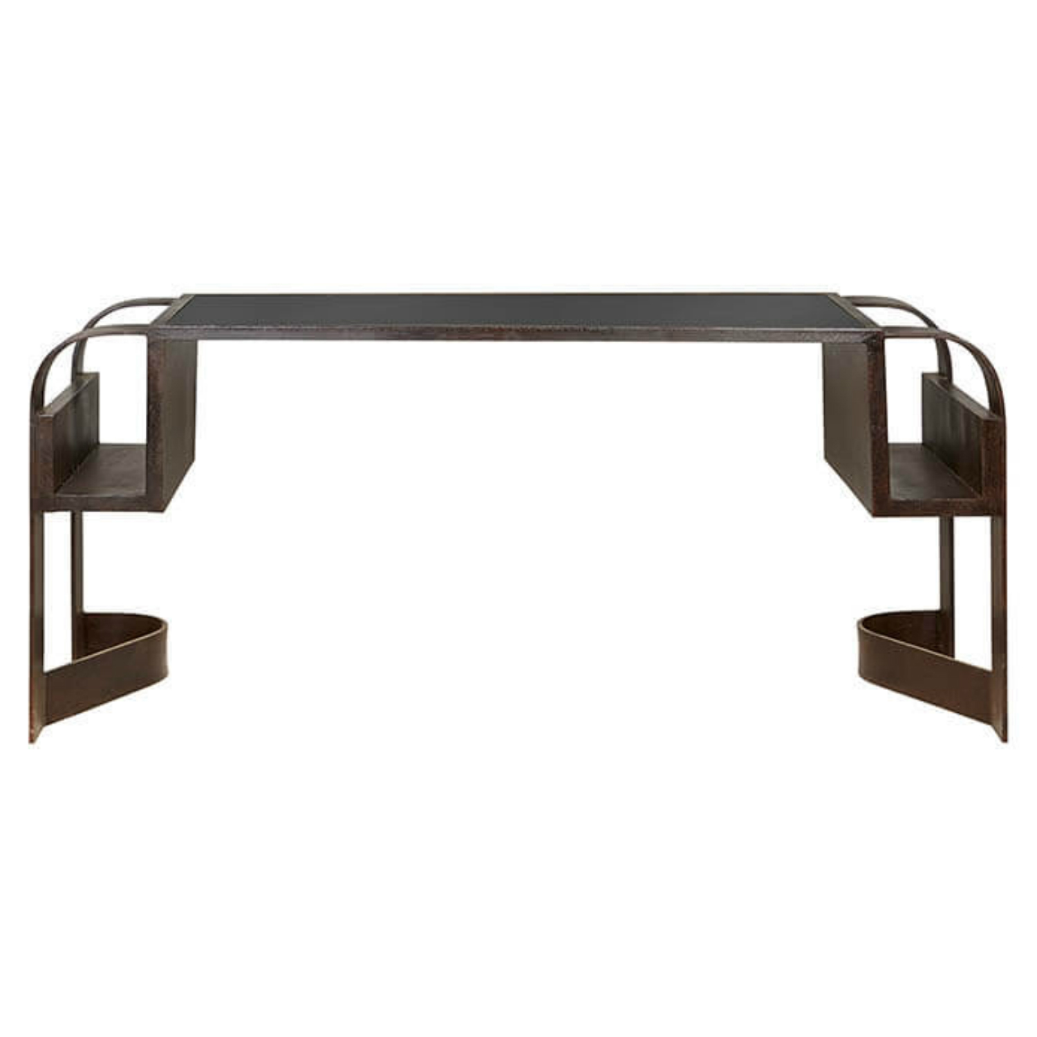 Lindon Industrial Loft Iron Recycled Black Rubber Desk