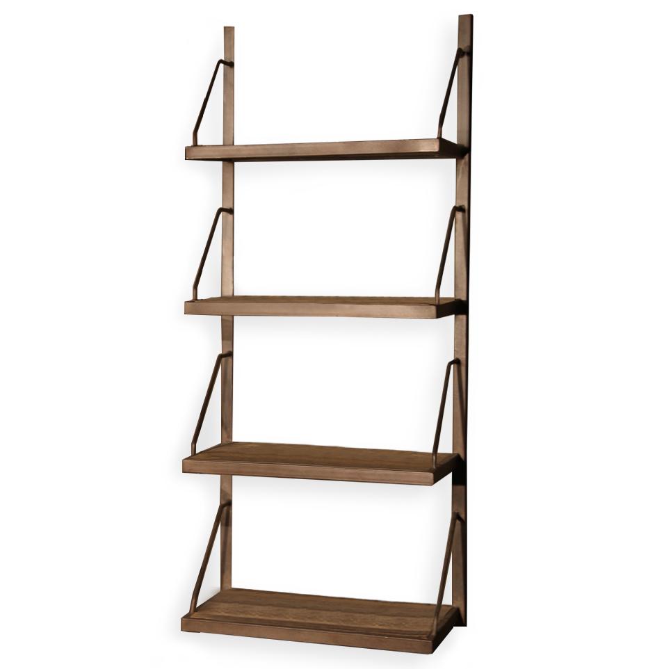 Rennie Industrial Reclaimed Elm Iron Wall Shelf - 59 Inch