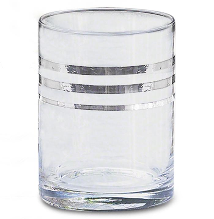 Vanderbilt Platinum Band Hollywood Regency Old Fashioned Glasses - Set of 4
