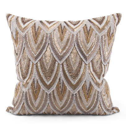 Cortez Copper Gold Beaded Hand Embroidered Pillow - 22x22