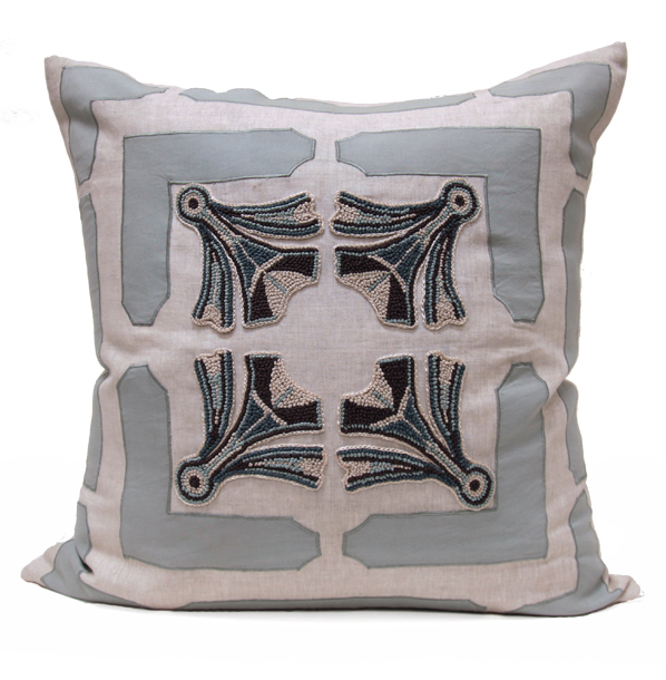 Ruskin Blue Natural Hand Embroidered Pillow - 24x24