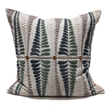 Sanford Fern Peacock Blue Natural Embroidered Pillow - 24x24