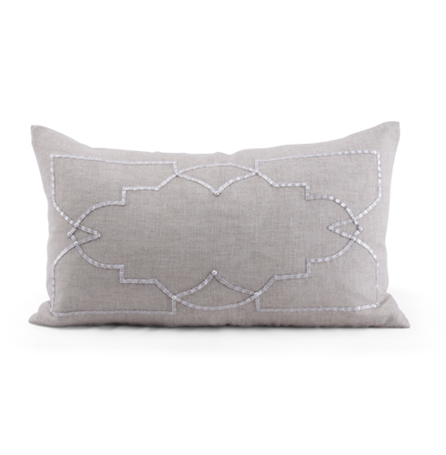 Hadley Grey Hand Embroidered Pillow - 14x24